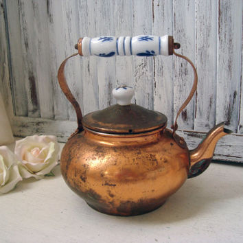 Vintage Brass Tea Pot, Small Metal Patina Tea Pot, Decorative Tea Pot, Shabby Chic, Country Cottage Kitchen, Distressed Tea Pot, Photo Prop