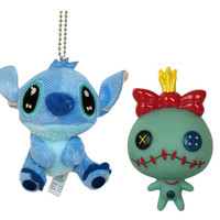 New LILO & STITCH ~ STITCH Keychain plush + SCRUMP Figure Set w/ suction cup