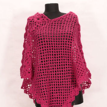 Crochet poncho /  top for women in different colors / vest / sweater / Knit Poncho