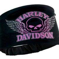 Harley-Davidson Women's Headband Scrunchie, Studded Winged Skull, Black HE71530