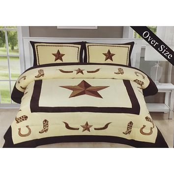 Western Longhorn Star Sherpa Borrego Fleece Blanket - 3 Piece Set