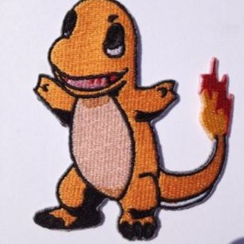 "Pokemon Charmander Iron-on Patch (3"" / 7.5cm) Embroidered Badge - Free Shipping!"
