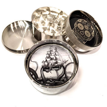 "Octopus The Kraken Attacks Pirate Ship 3 Piece Chrome Metal Silver Grinder 2"" Wide Nautical"