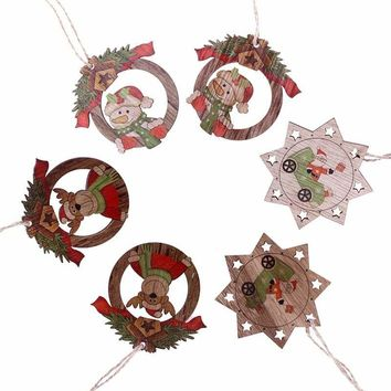 6PCS Holidays Wooden Xmas Tree Ornament