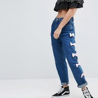 Chorus Straight Cut Stonewash Bow Side Jeans at asos.com