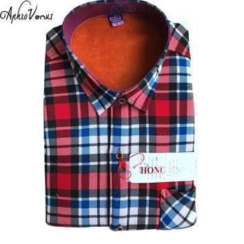 Winter Thermal Blouse Warm Thick Shirt Men Long Sleeve Shirts Plaid Cotton Casual Flannel Shirts 19 Style Available Warm Cotton