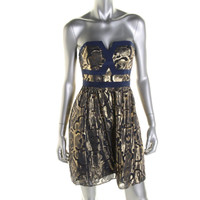 Alice & Trixie Womens Silk Metallic Party Dress
