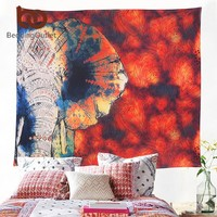 BeddingOutlet Red Tapestry Floral and Elephant Printed Hanging Wall Tapestries Hippie Bohemian Room Decor 130x150cm 150x200cm