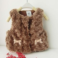 Autumn Winter Baby Waistcoat Warm Infant Kids Girls Imitation Fur Vest Outwear Coat Toddler Baby Boy Girl Clothes