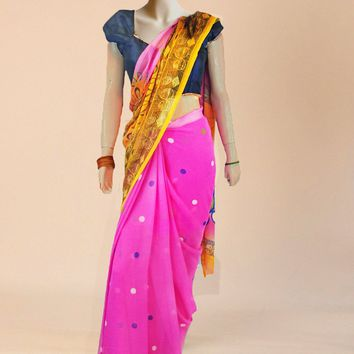the border printed georgette saree in pink and gold