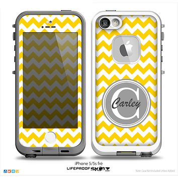 The Yellow & White Chevron Monogram Name Script Skin Gray v1 Skin for the iPhone 5-5s Fre LifeProof Case