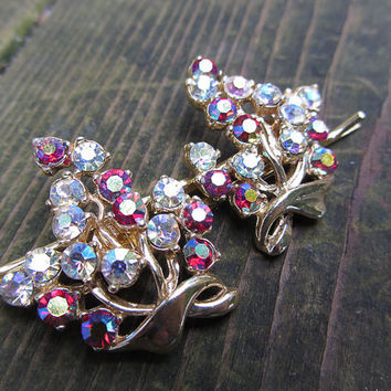 Vintage Rhinestone Hair Pin Set, Bobby Pin, Aurora Borealis, AB, Red