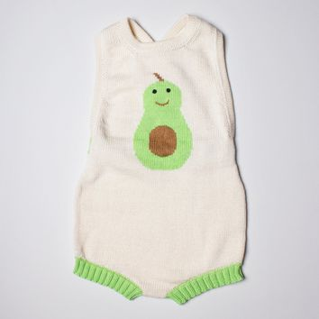 White Sleeveless Organic Cotton Baby Romper - Avocado Graphic