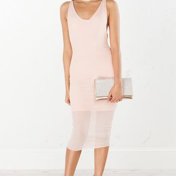 Mesh Midi Dress in Blush