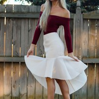Quilted High Low Skirt Beige
