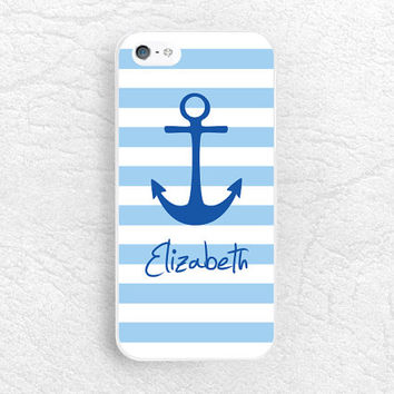 Striped Anchor Monogram Phone Case for iPhone 6 iPhone 5 5s 5c, Sony z3 compact, LG G3 nexus 6, HTC one m7 m8, personalized name custom case