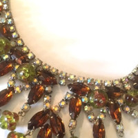Hi End Rhinestone Fringe Necklace Designer Fashion Jewelry Repurpose Stone Harvest