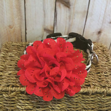 Dog Collar Flower // Red Eyelet Lace // Red Flower // Lace Flower // Collar Accessory // Collar Flower // Hair Accessory // Red Dog Flower
