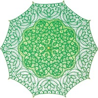 Luna Bazaar Cotton Lace Paper Parasol (31-Inch, Kelly Green)