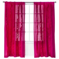 "Xhilaration® Solid with Ruffles Window Panel - Pink (50x84"")"