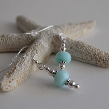Faceted Peruvian Blue Opal and Sterling Silver Earrings