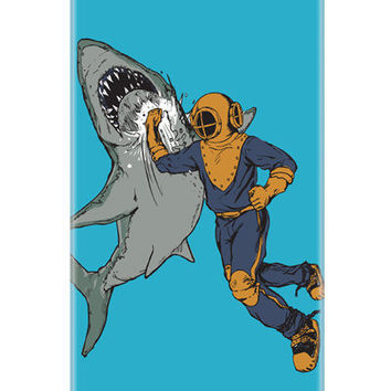 iPhone 5 Case, Shark case, Diver Punching Shark, Glossy Hard case