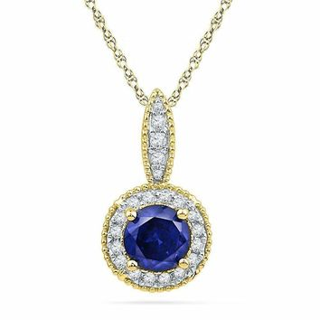 10kt Yellow Gold Women's Round Lab-Created Blue Sapphire Solitaire Diamond Frame Pendant 1-6 Cttw - FREE Shipping (US/CAN)