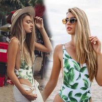 2017 New Green Leaf Print One Piece Swimsuit Women deep V monokini Beachwear Push Up Swimwear Women Siece swim Suit 2425
