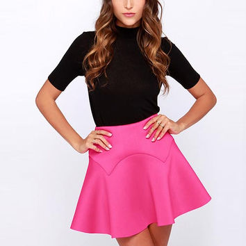 Fuchsia High-Waist Ruffle Skirt