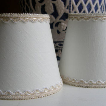 Pair of Chandelier Clip-On Lamp Shades White Shantung Fabric Wall Sconce Mini Lampshade - Handmade in Italy