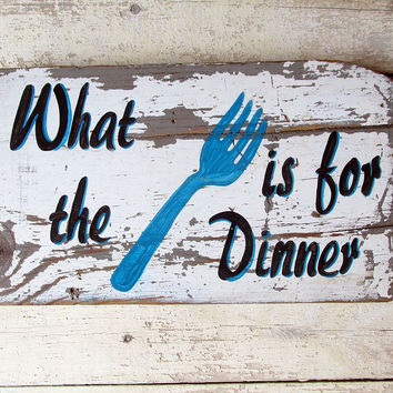 Distressed Wood Kitchen Quotes Wall Decor ,Funny Wood Signs Sayings, What The Fork is For Dinner