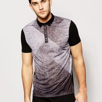 ASOS Super Longline Polo Shirt With Front Print And Extended Hem