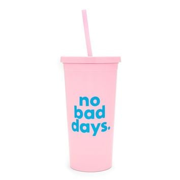 ban.do - sip sip tumbler with straw - no bad days