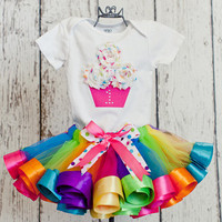 "Baby Girl 1st Birthday Cupcake Shirt w/ Icing ""Sprinkles"" & Rhinestone Age Number-Matches Lollipop Rainbow Satin Ribbon Tutu (No Tutu)"
