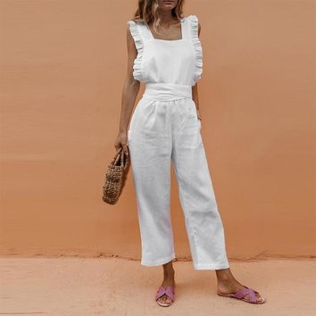 Summer casual rompers womens jumpsuit Solid Ruffle Slim overalls Bandage Backless long pants women jumpsuit salopette femme