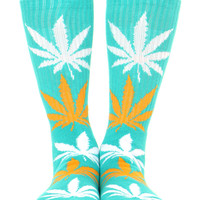 JADE/ORANGE/WHITE PLANTLIFE CREW SOCK