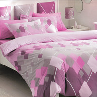 Custom Queen Size Lilac and Pink Argyle Checked Printed Bedding Set