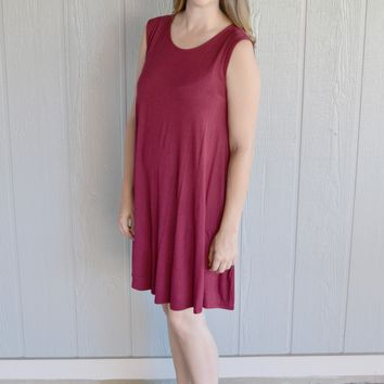 Finding Love Swing Dress: Burgundy