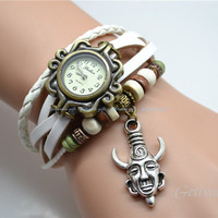 Dean winchester's amulet wrist watch,Supernatural Hyperphysical Inspired protection charms bracelet watch,leather bracelet watch BWDW01