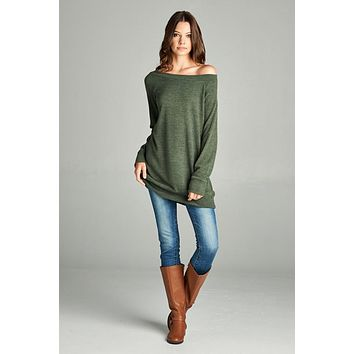 Off Shoulder Tunic - Olive