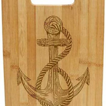 Laser Engraved Cutting Board - Anchor