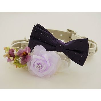 Purple Wedding Dog Collar - Wedding Accessories, Floral and Bow tie collar