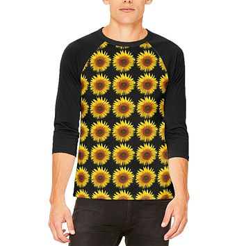 Sunflower Pattern Mens Raglan T Shirt