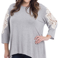 Plus Size Crochet Paneled Dolman Knit Top