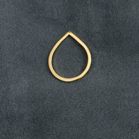Contemporary pear 24k gold pate ring