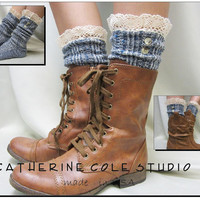 Nordic Lace  short boot  lace socks denim tweed for combat or cowboy boot socks by Catherine Cole Studio ruffled lace SLX1BL Made  in usa
