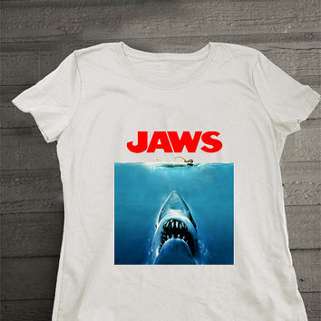 Jaws Paws Parody shirt Women Poster Movie t-shirt shark tee Jaws tee Stump white