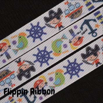 Pirates and Anchors Ribbon, 4 Yards, 5/8 inch Grosgrain