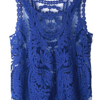 Blue Crochet Lace Vest with Mesh Insert - Choies.com
