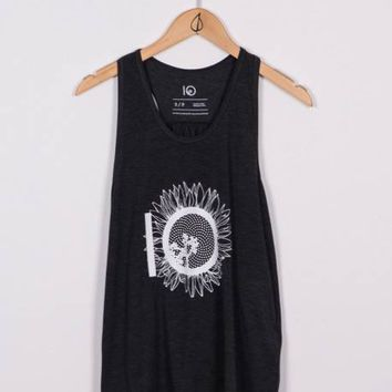 WOMENS LUNA SUNFLOWER TANK - BLACK